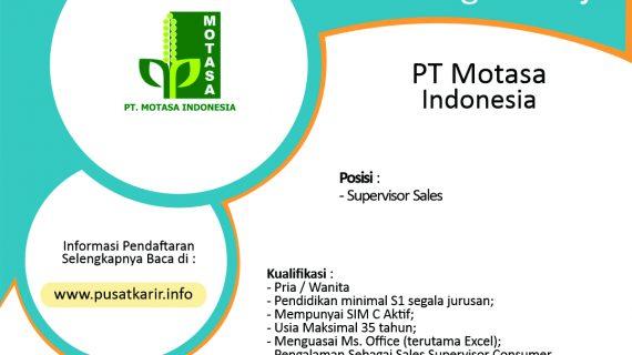Lowongan Kerja PT Motasa Indonesia Terbaru 2020