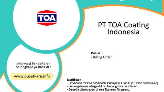 Lowongan Kerja PT TOA Coating Indonesia