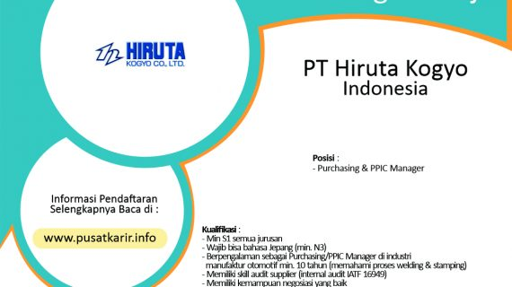 Lowongan Kerja PT Hiruta Kogyo Indonesia